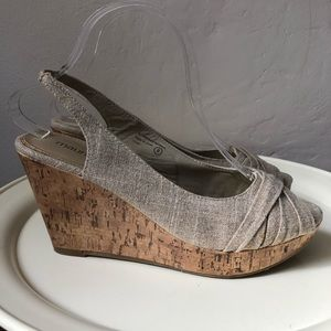 Maurice's Canvas Peeptoe Wedges